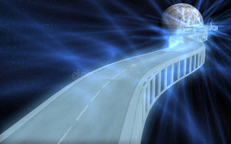scène de route de lune d'imagination à illustration libre de droits