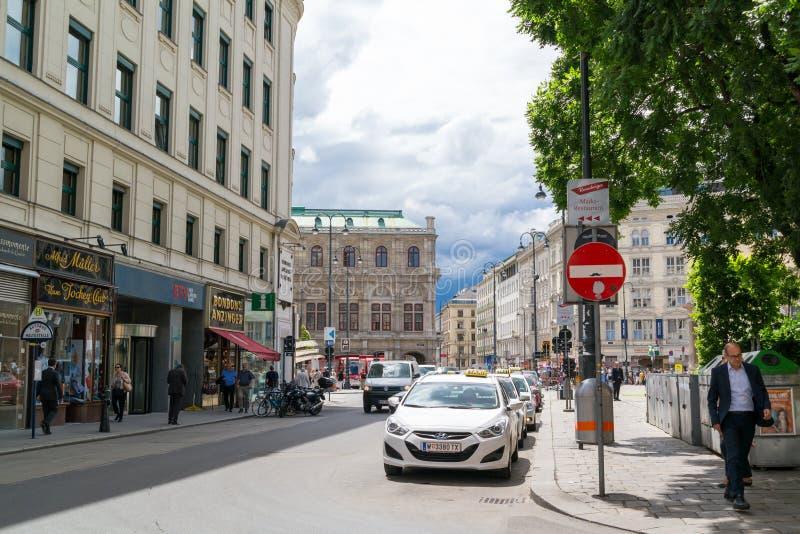 Scène de rue de place d'Albertina à Vienne, Autriche images stock