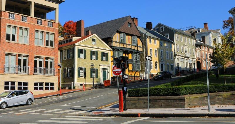 Scène de rue en Providence, Île de Rhode photos stock