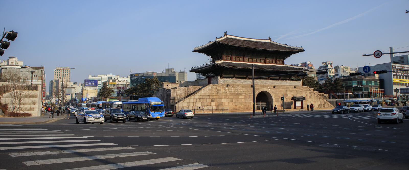 Scène de rue de Séoul en Corée du Sud photos libres de droits