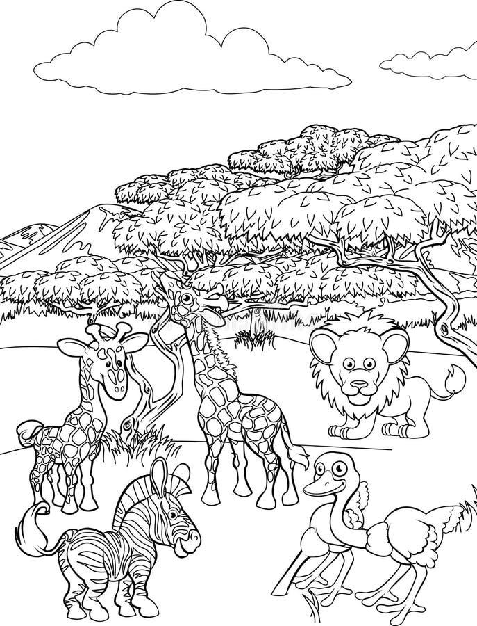 Scène de Safari Cartoon Animal Background Landscape illustration stock