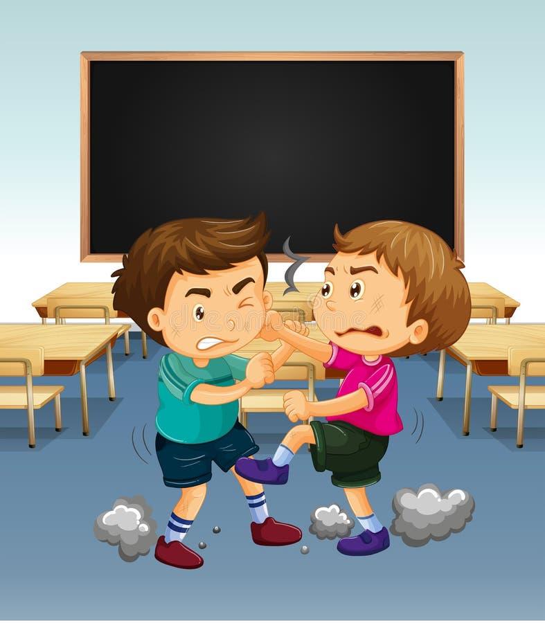 Scène de salle de classe avec le combat de garçons illustration stock