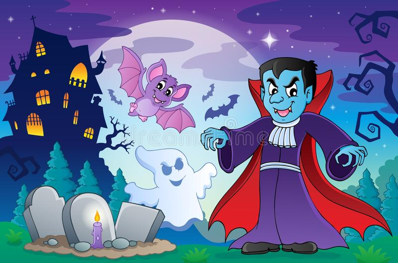 Scène 4 de sujet de Halloween illustration stock