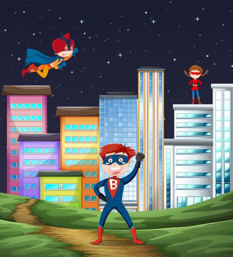 Scène de superhéros d'enfant illustration de vecteur