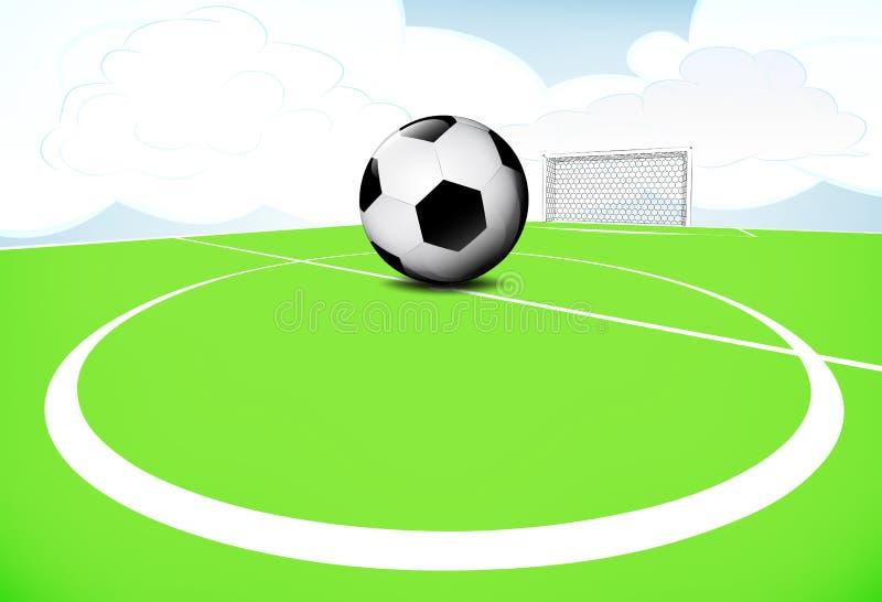 Scène de terrain de jeu du football de cercle central avec le ciel nuageux illustration de vecteur