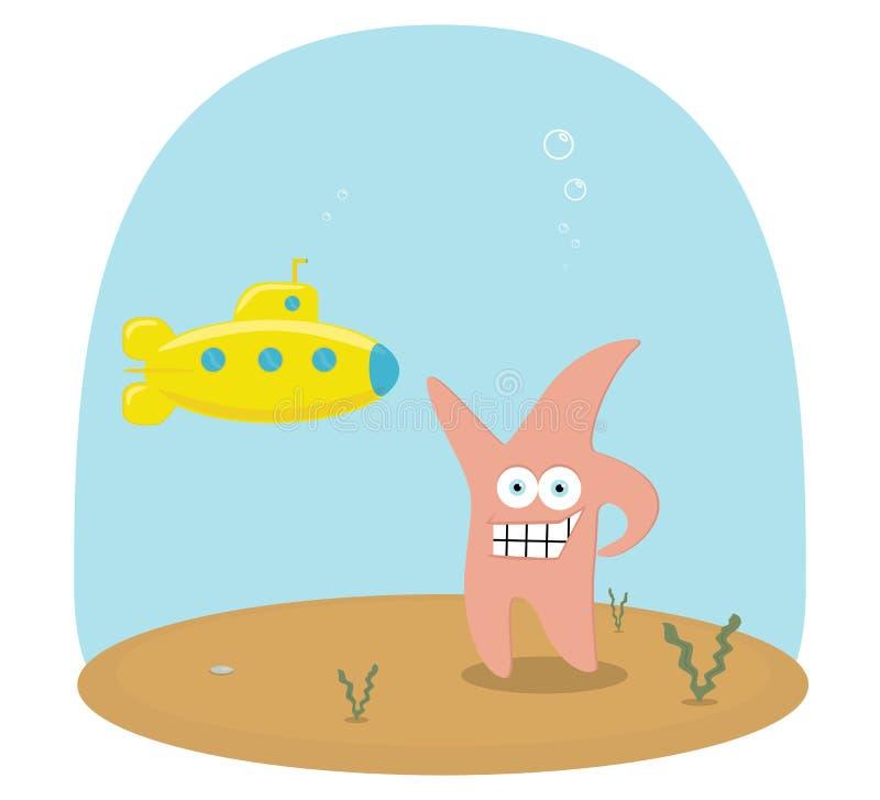 Scène de vecteur de bande dessinée d'océan sous-marin avec le sous-marin et l'étoile illustration de vecteur