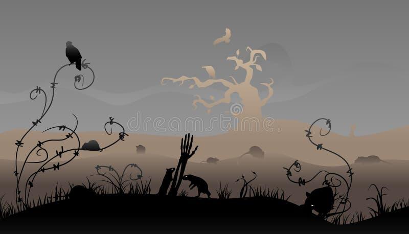 Scène de Veille de la toussaint illustration stock