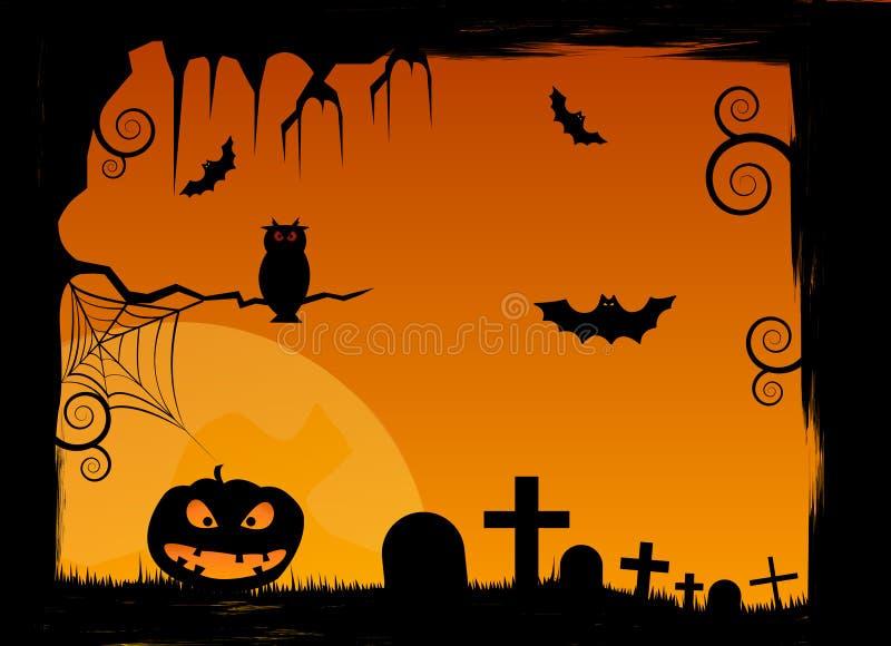 Scène de Veille de la toussaint Illustration d'un cadre grunge de Halloween avec des potirons, des battes, des tombes et le filet illustration stock