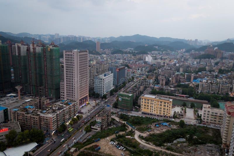 Scène de ville de Villege de Guiyang, porcelaine 3 images stock