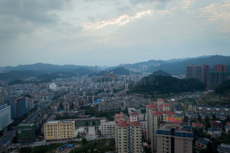 Scène de ville de Villege de Guiyang, porcelaine 8 photos stock