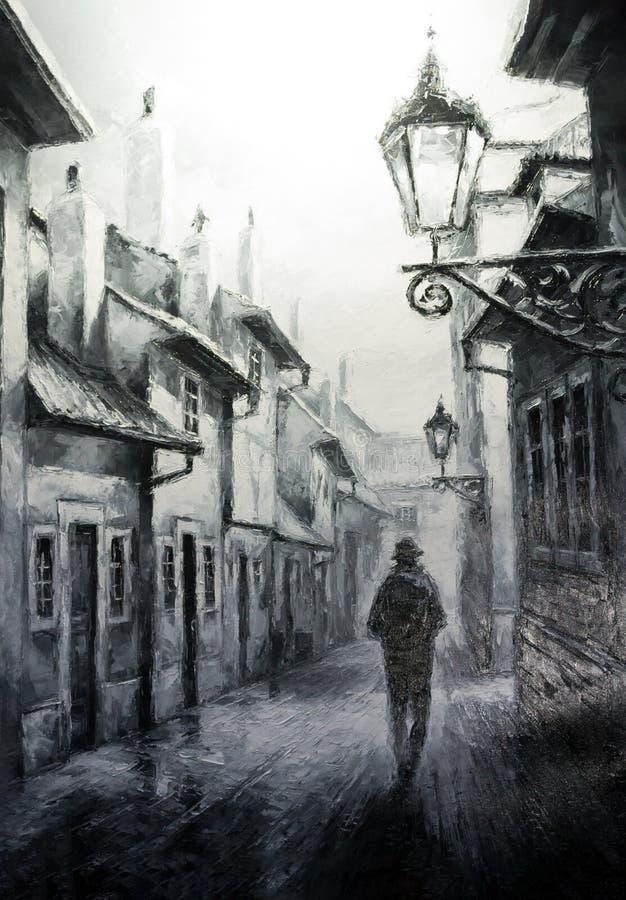 Scène de vintage de Prague de nuit, peinture d'art de rue illustration stock
