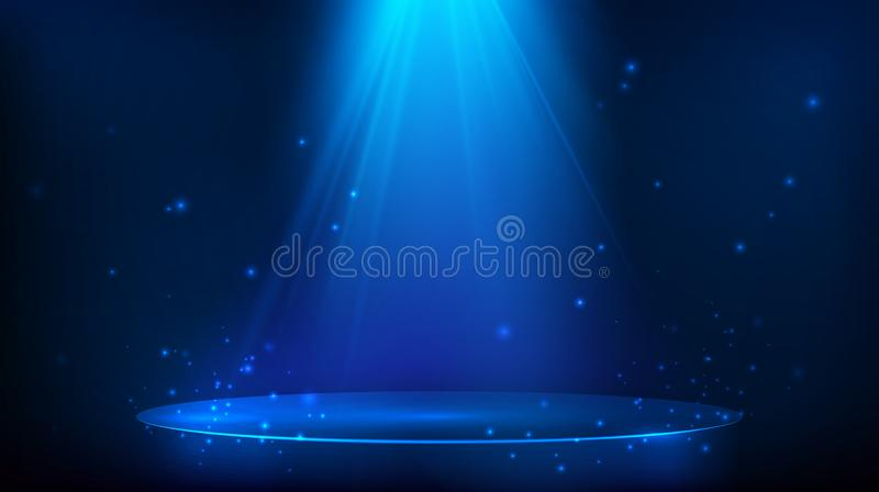 Sc?ne die met blauw licht wordt verlicht Magische partijachtergrond Vector illustratie royalty-vrije illustratie