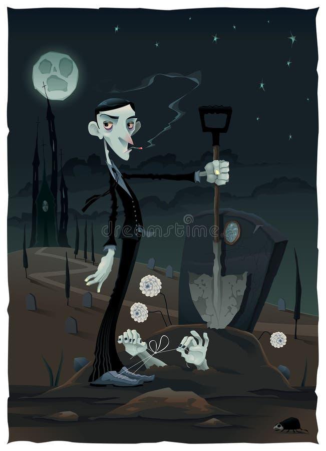 Scène drôle dans le cimetière. illustration libre de droits