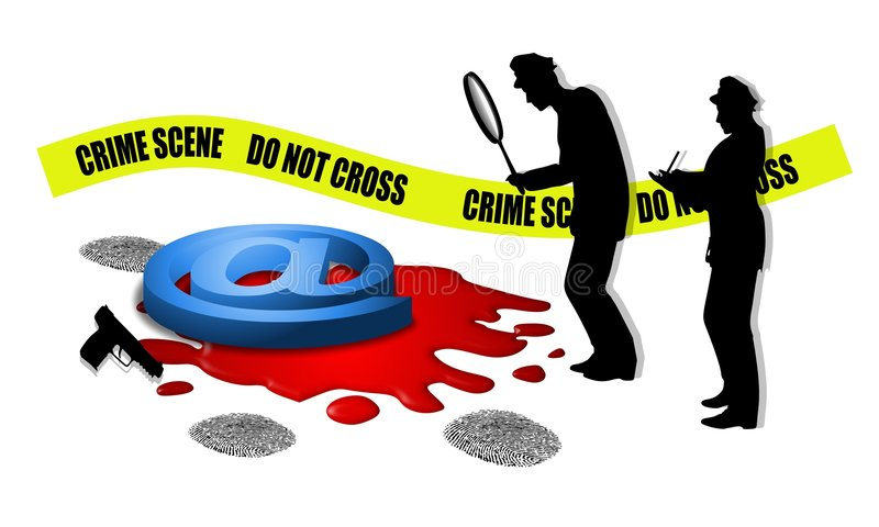 Scène du crime sanglante d'Internet illustration stock