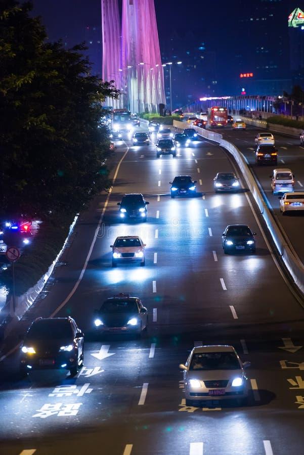 Scène du trafic de nuit de Guangzhou photos libres de droits