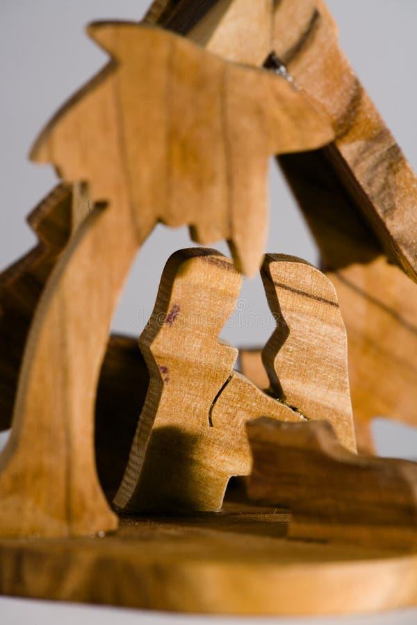 Scène en bois de nativité image libre de droits