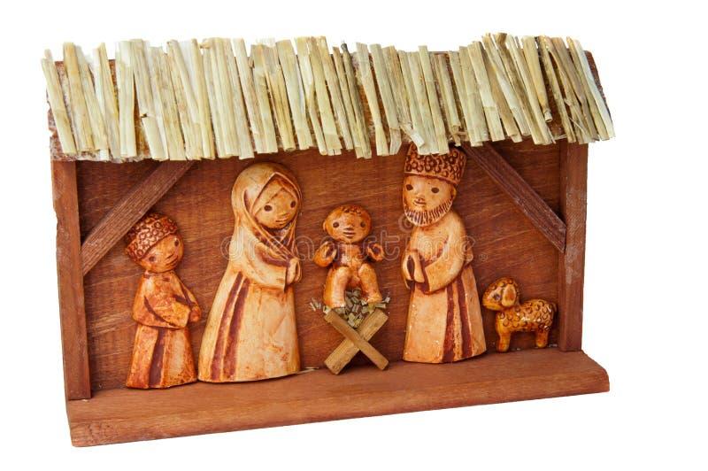 Scène en bois de nativité images libres de droits