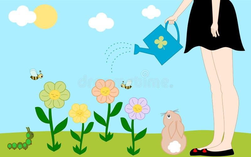 Scène extérieure colorée de bande dessinée mignonne dans le jardin avec l'illustration de fleurs illustration stock
