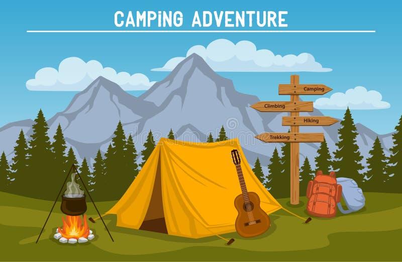 scène extérieure de tourisme de camping illustration libre de droits