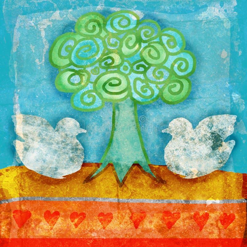 Scène grunge de colombes illustration stock