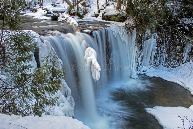 Scène hivernale de longue exposition des automnes de Hoggs images libres de droits