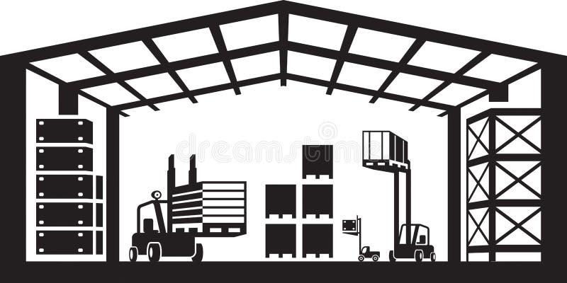 Scène industrielle d'entrepôt illustration stock
