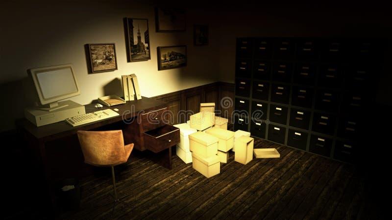 Scène intérieure de rétro bureau de style ancien image stock
