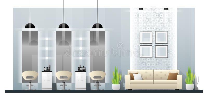 Scène intérieure de salon de beauté moderne illustration stock