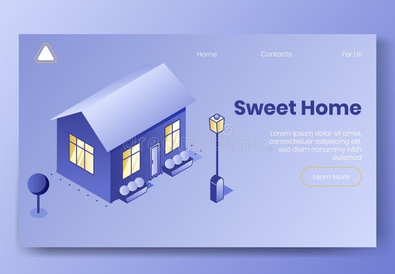 Scène isométrique de concept de construction de Digital de maison douce Bâtiment social isométrique d'illustration-maison, jardin illustration libre de droits