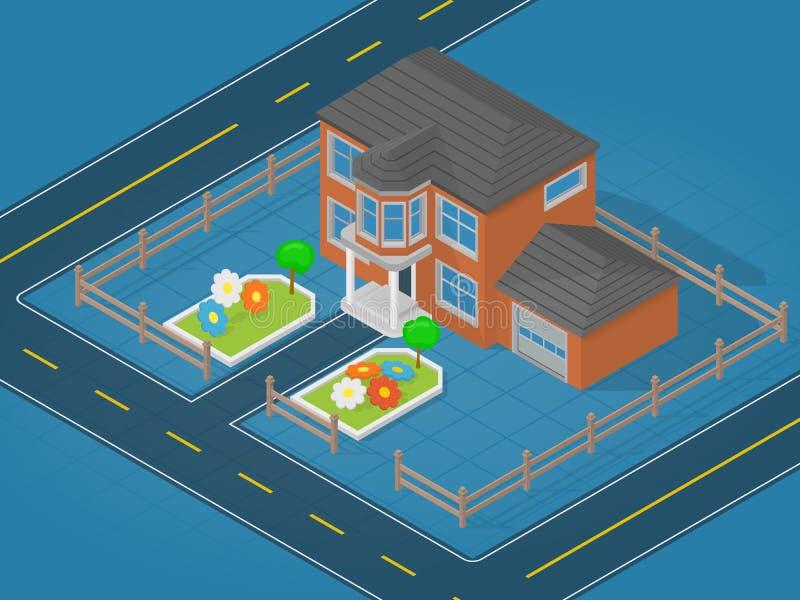 Scène isométrique représentant la maison moderne et le secteur contigu avec la fleur illustration de vecteur