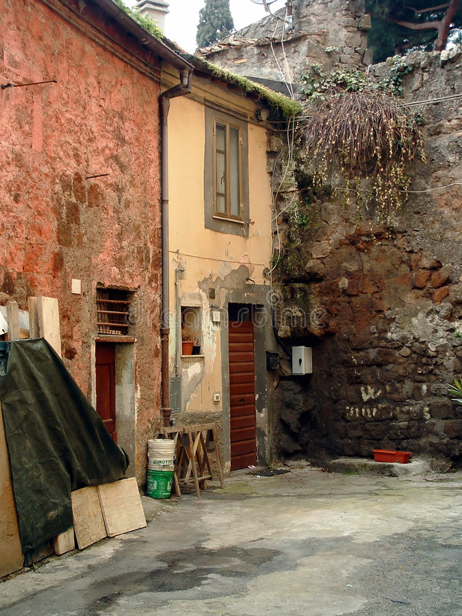 Scène italienne rustique de village image libre de droits