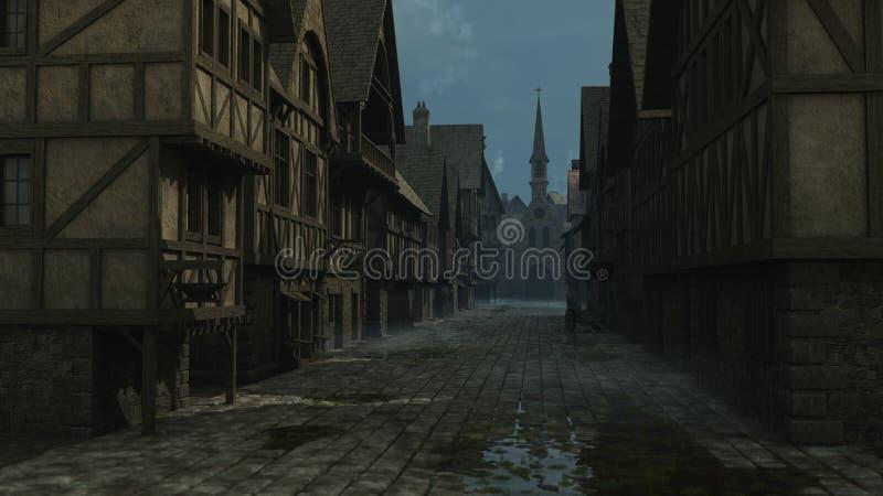 Scène médiévale de rue - 1 illustration de vecteur
