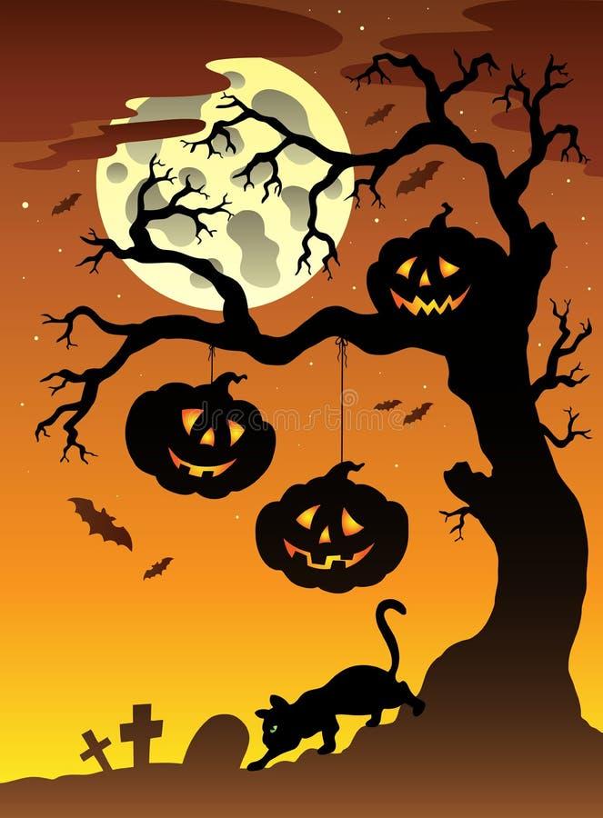 Scène met boom 2 van Halloween stock illustratie