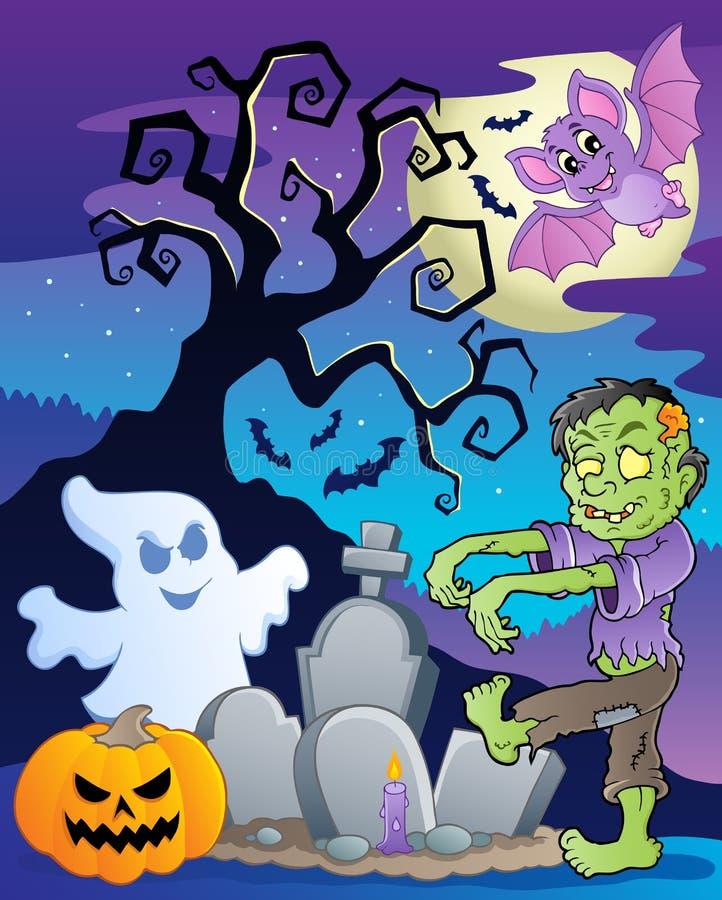 Scène met de boom van Halloween   stock illustratie