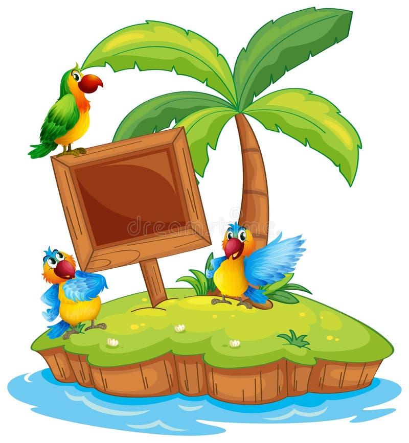 Scène met drie papegaaien op eiland vector illustratie