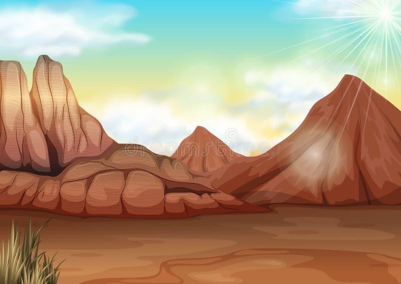 Scène met gebied van woestijn stock illustratie