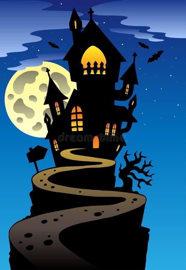 Scène met herenhuis 2 van Halloween vector illustratie