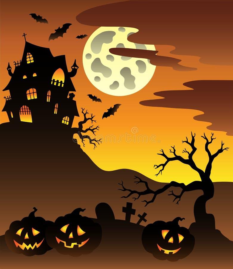 Scène met herenhuis 3 van Halloween stock illustratie
