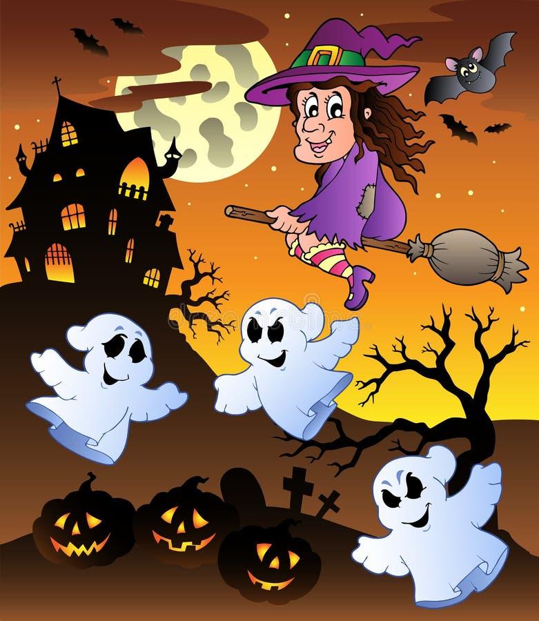 Scène met herenhuis 5 van Halloween royalty-vrije illustratie