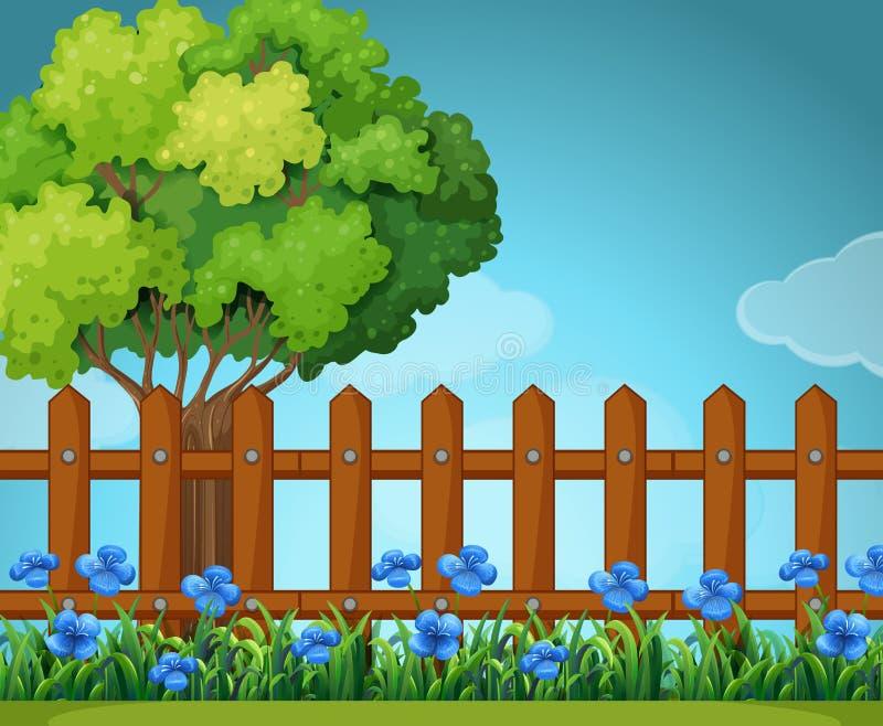 Scène met houten omheining in tuin royalty-vrije illustratie