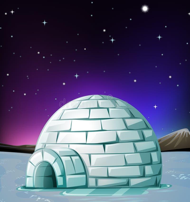 Scène met iglo bij nacht royalty-vrije illustratie