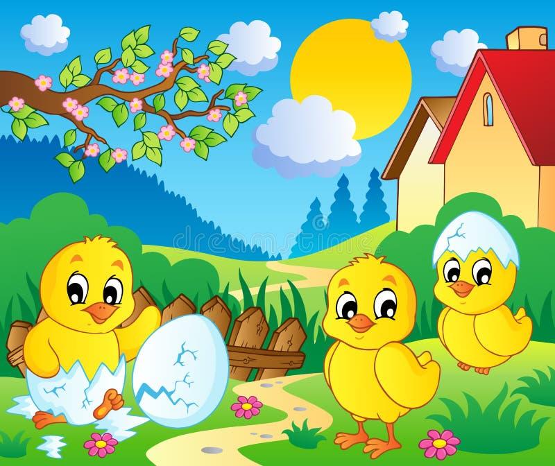 Scène met lentetijdthema 2 stock illustratie