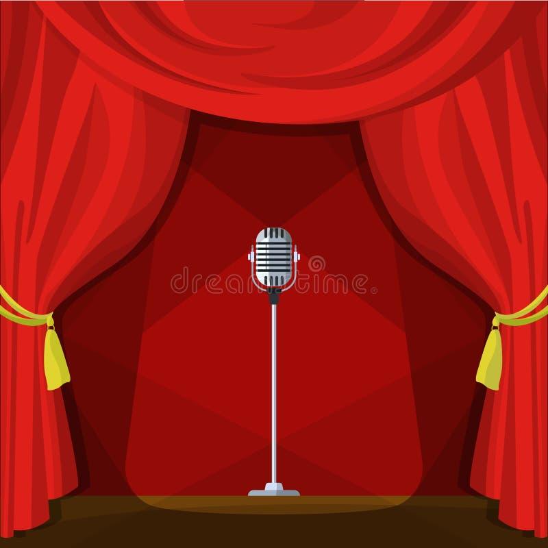 Scène met rode gordijnen en retro microfoon Vectorillustratie in beeldverhaalstijl vector illustratie
