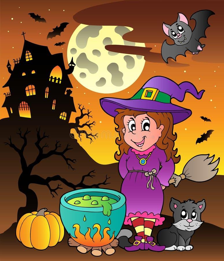 Scène met thema 3 van Halloween stock illustratie
