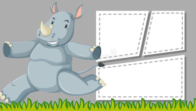 Scène mignonne de cadre de rhinocéros illustration stock