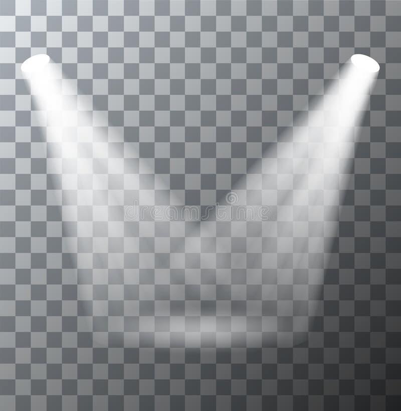 Scène moderne de projecteurs de vecteur avec des effets de la lumière illustration stock