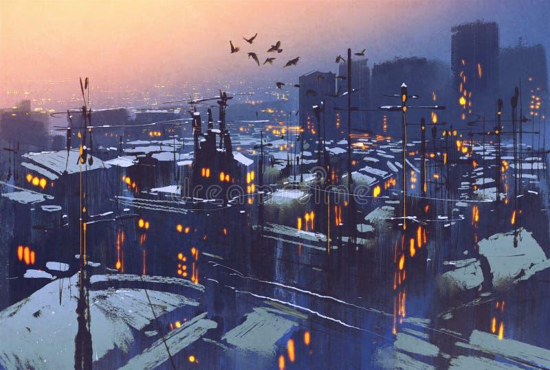Scène neigeuse d'hiver de ville, dessus de toit couverts de neige au coucher du soleil photos stock
