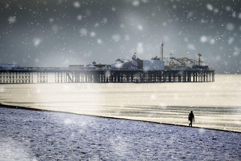 Scène neigeuse de pilier et de bord de mer de Brighton photo libre de droits