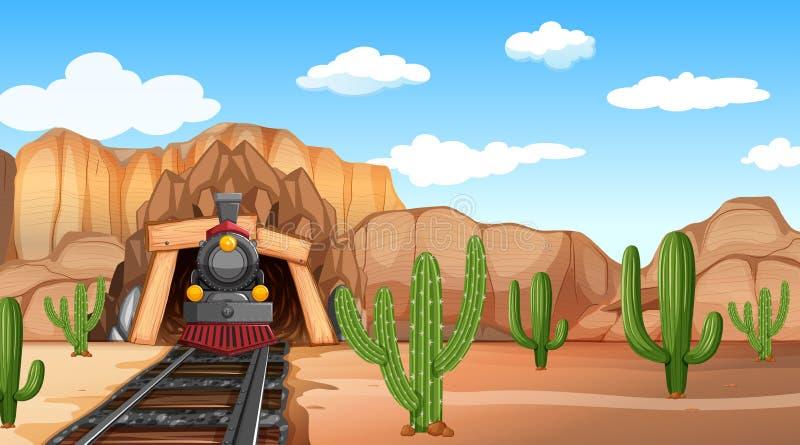 Scène orientée de désert occidental en nature illustration de vecteur