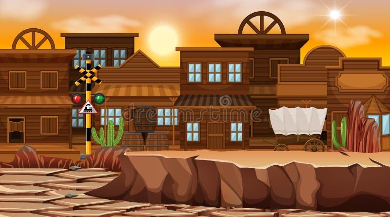 Scène orientée de désert occidental en nature illustration stock
